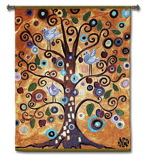 Tree of Life orange with Birds Tapestries