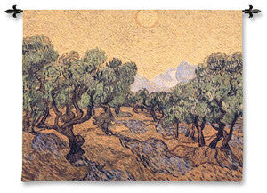 Olive Trees With Yellow Sky And Sun Wall Woven Textile Decor