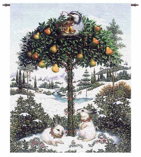Partridge In A Pear Tree Woven Tapestry