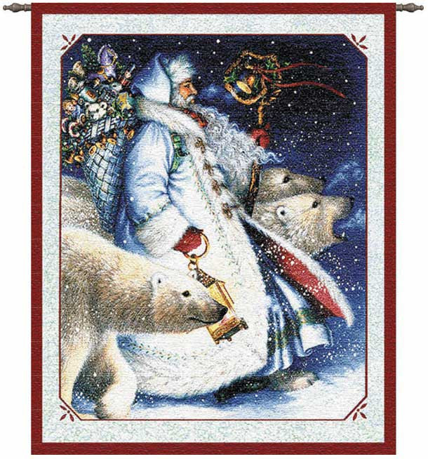 Santa and Polar Bears Wall Hanging