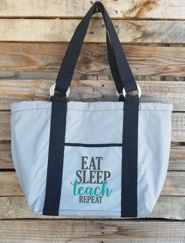 Teacher Tote - Eat, Teach, Sleep, Repeat