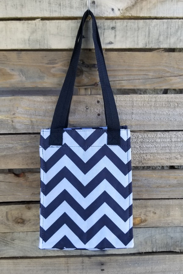 Lunch Bag-Black and Gray Chevron Insulated Lunch Bag
