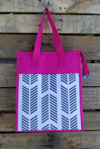 Lunch Bag-Gray Chevron Arrow