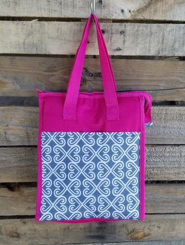 Lunch Bag-Gray Heart Trellis