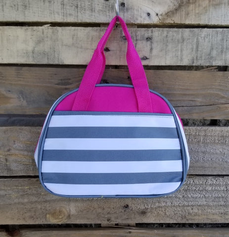 Lunch Bag-Gray Stripes with Dark Pink