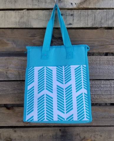 Lunch Bag-Turquoise Chevron Arrow
