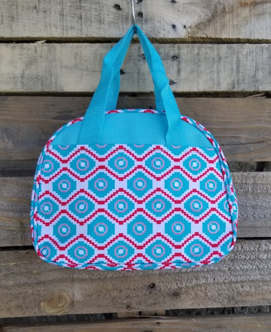 Lunch Bag-Turquoise and Red