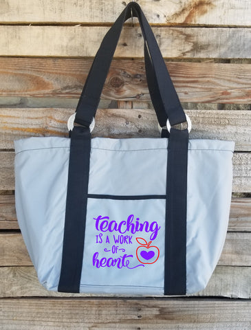 Teacher Tote - Teaching is a Work of Heart-2