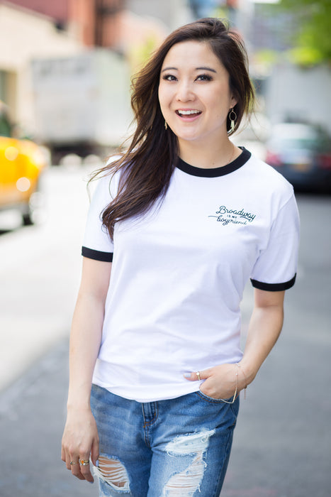 """Broadway is _____________"" Tee (White, Unisex)"