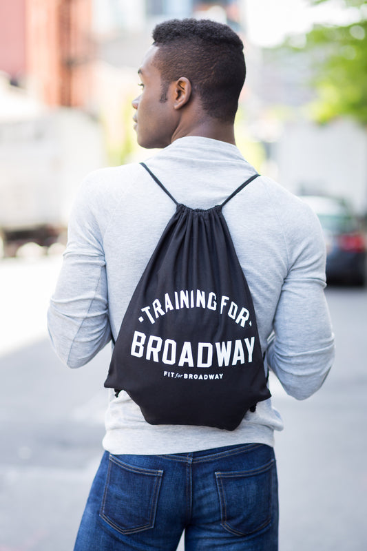 "The ""Training for Broadway"" Drawstring Bag (Black)"