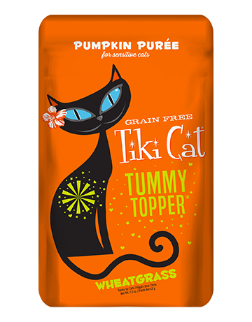 Tiki Cat Pumpkin Topper with Wheatgrass