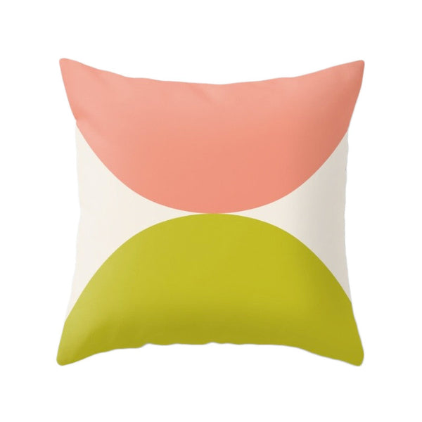 2 Circles. Light blue and red geometric pillow - Latte Design  - 4