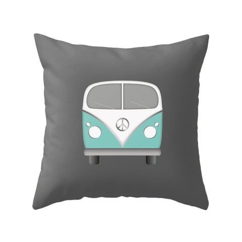 Turquoise camper van nursery cushion