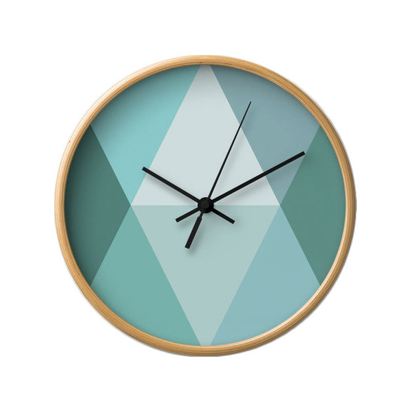 Teal geometric wall clock - Latte Design  - 2