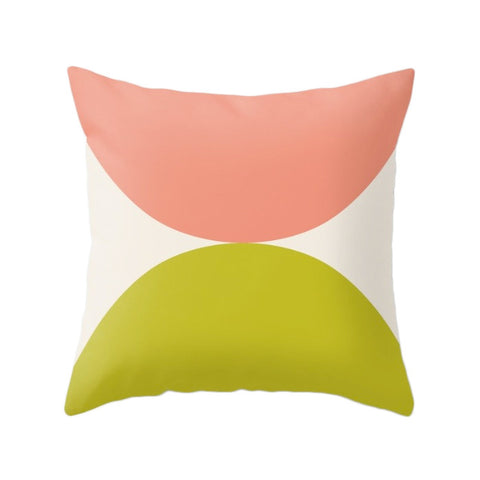 2 Circles. Pink and green geometric pillow - Latte Design  - 1