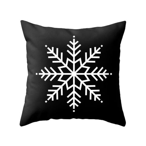 Snowflake. Black Christmas pillow - Latte Design  - 1
