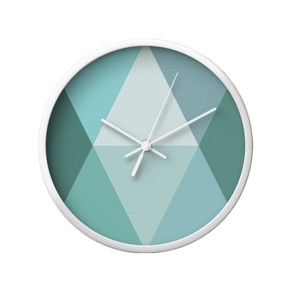 Teal geometric wall clock - Latte Design  - 3