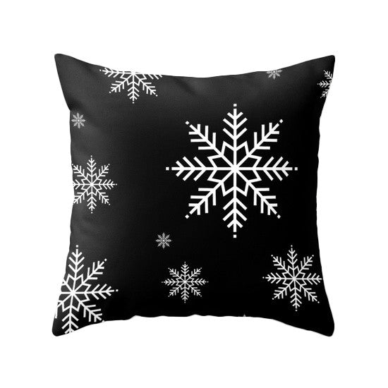 Snowflake. Black Christmas pillow - Latte Design  - 2