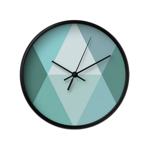 Teal geometric wall clock - Latte Design  - 1