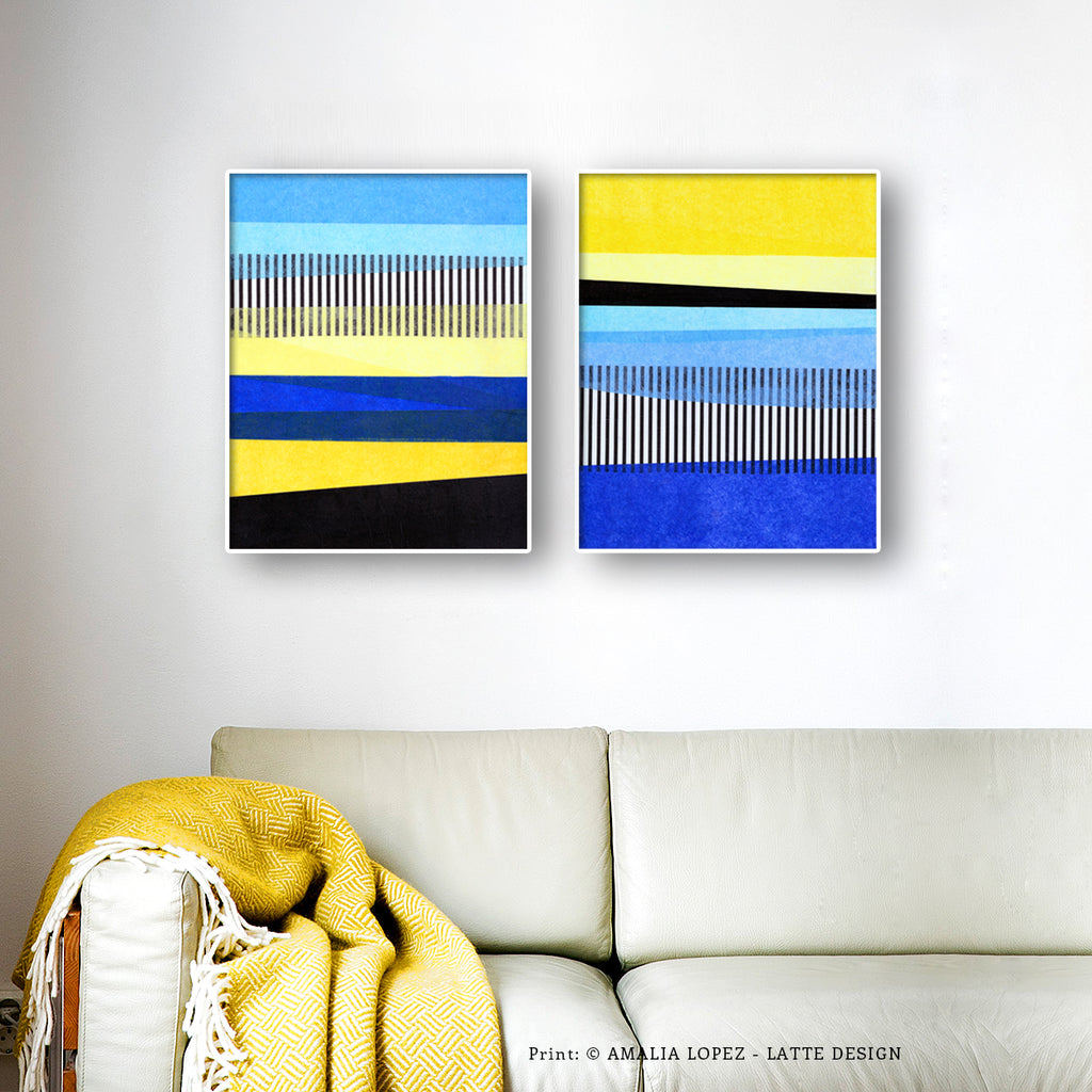 Set Of 2 Abstract Landscape Collage Prints Blue And Yellow Latte Design