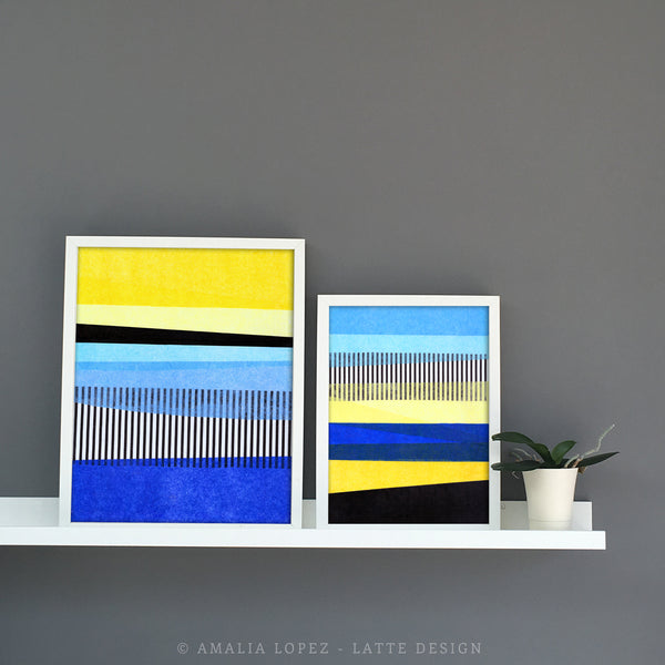 Abstract Landscape 2. Blue and yellow abstract print