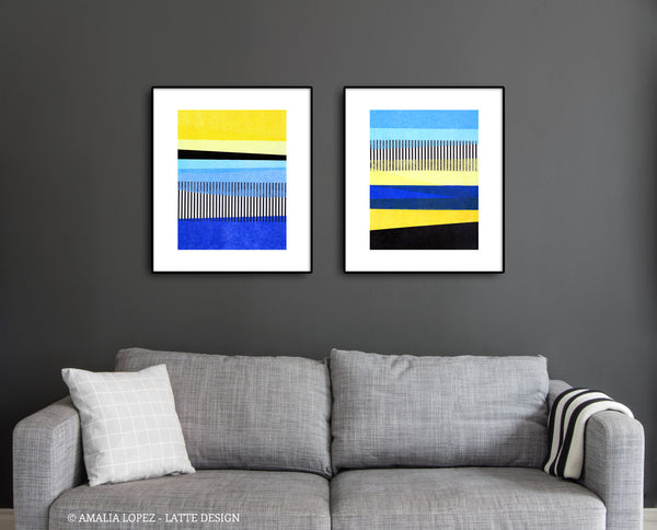 Set of 2 Abstract landscape collage prints. Blue and yellow