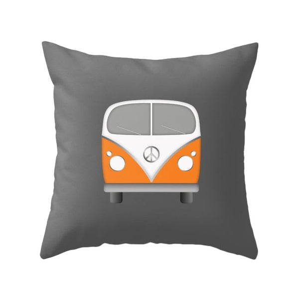 Orange camper van nursery cushion