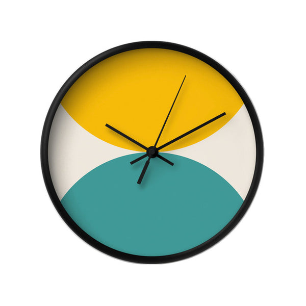 2 circles. Green and turquoise geometric wall clock. - Latte Design  - 11
