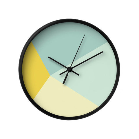 Mint and yellow geometric wall clock - Latte Design  - 1