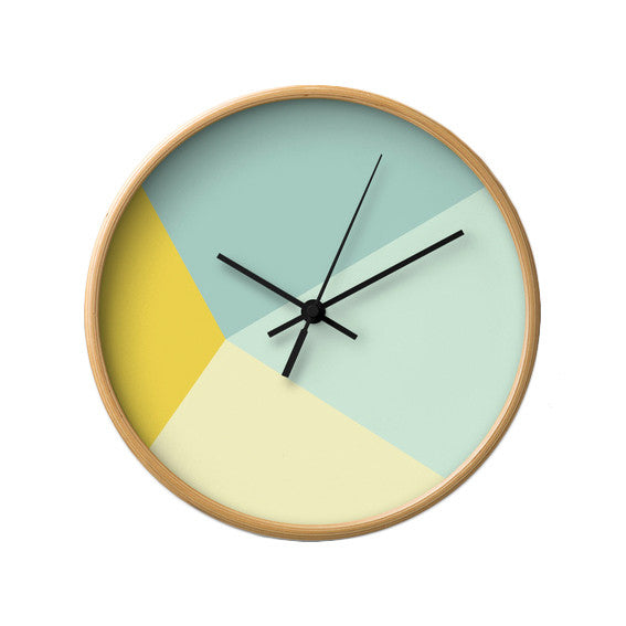 Mint and yellow geometric wall clock - Latte Design  - 2