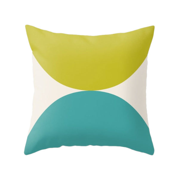 2 Circles. Light blue and red geometric pillow - Latte Design  - 6