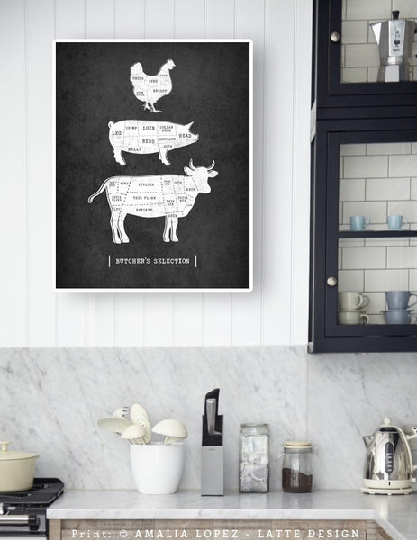 Traditional butcher print. Grey kitchen print