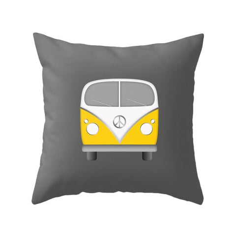 Yellow Camper van nursery pillow