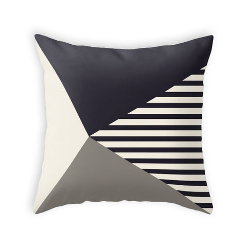 Black and stripes pillow