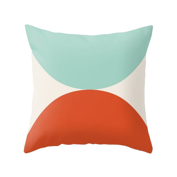 2 Circles. Light blue and red geometric pillow - Latte Design  - 1