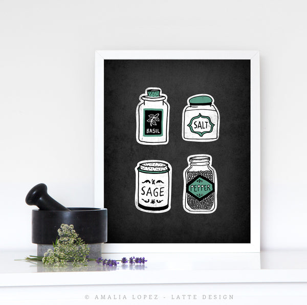 Spice Jars. Grey kitchen print