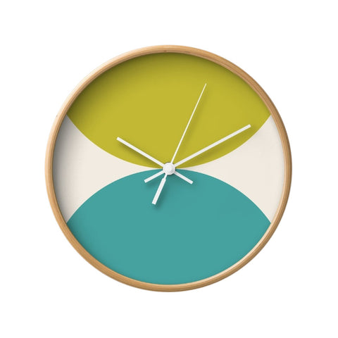 2 circles. Green and turquoise geometric wall clock. - Latte Design  - 1
