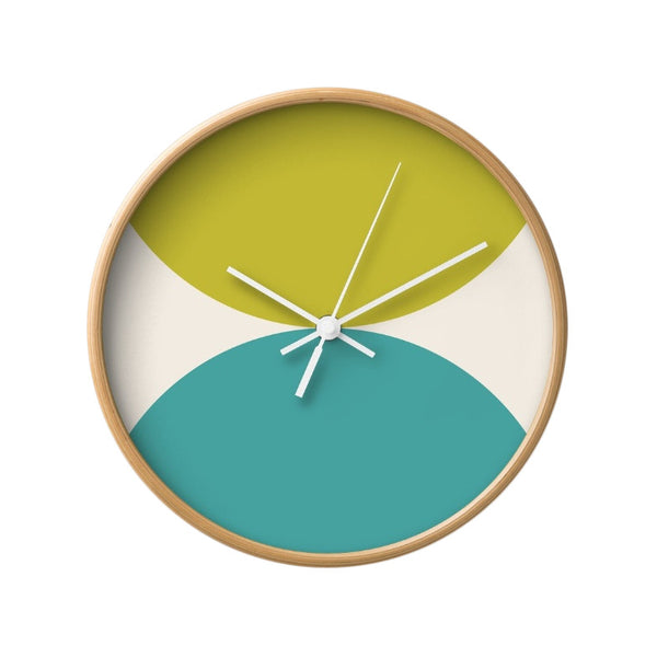2 circles. Pink and green geometric wall clock. - Latte Design  - 11