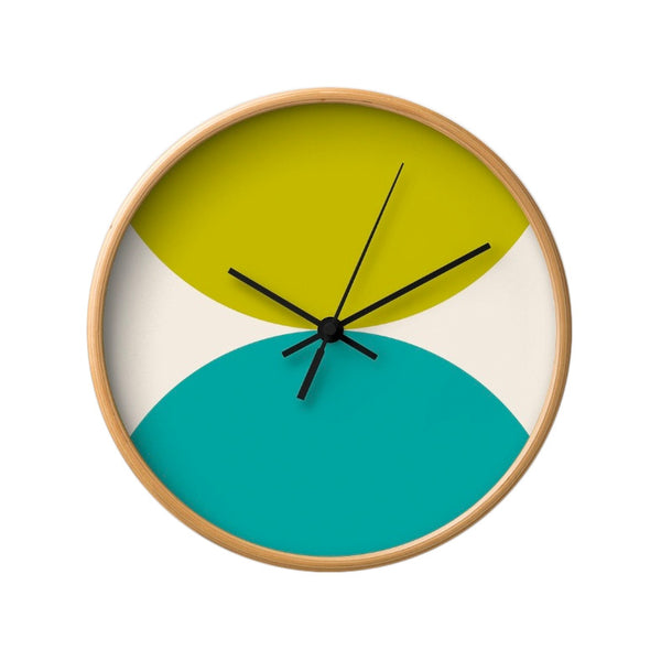 2 circles. Pink and green geometric wall clock. - Latte Design  - 12