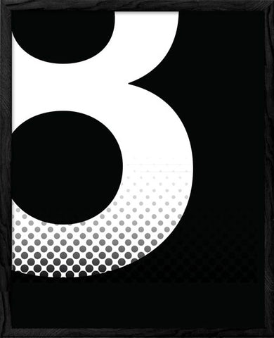 Number 8 print. Black and white typography print