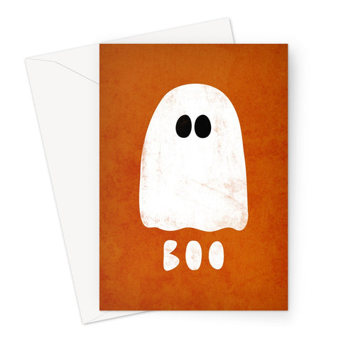 Ghost Halloween orange Greeting Card