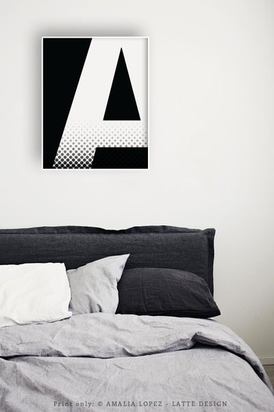 Letter K print. Black and white print - Latte Design  - 5