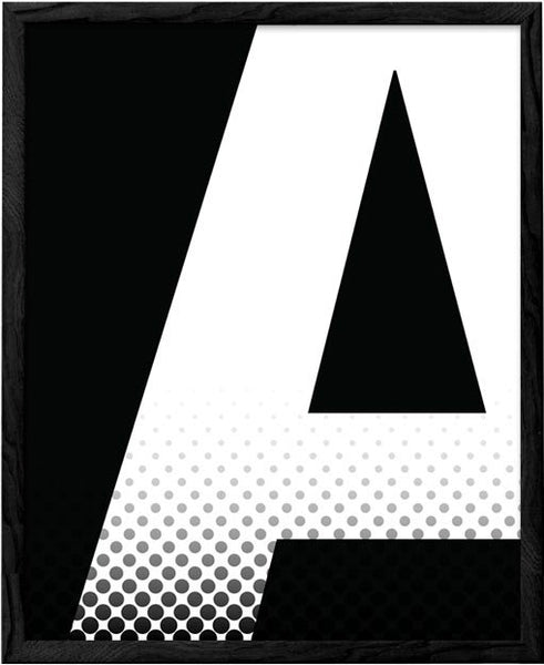 Letter A print. Black and white typography print