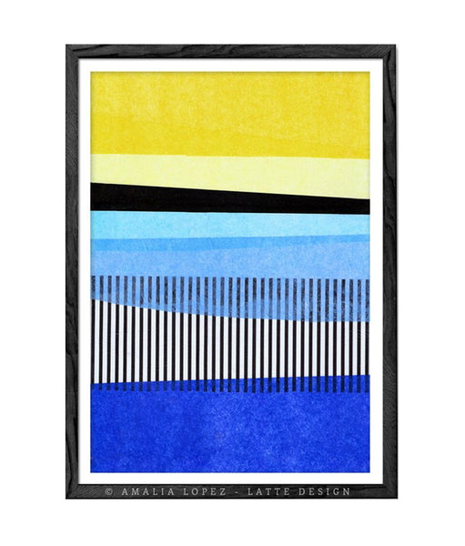 Abstract Landscape 1. Blue and yellow abstract print