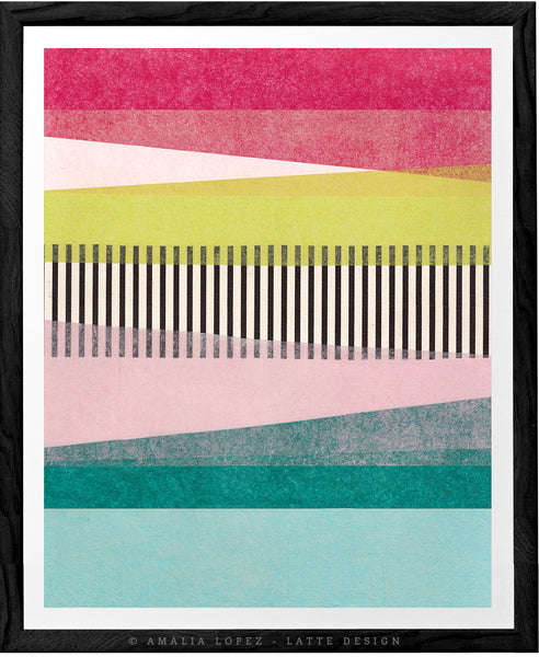 Abstract Landscape 2A. Green and pink abstract print