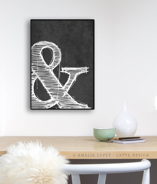 Ampersand print. Black and white typography print
