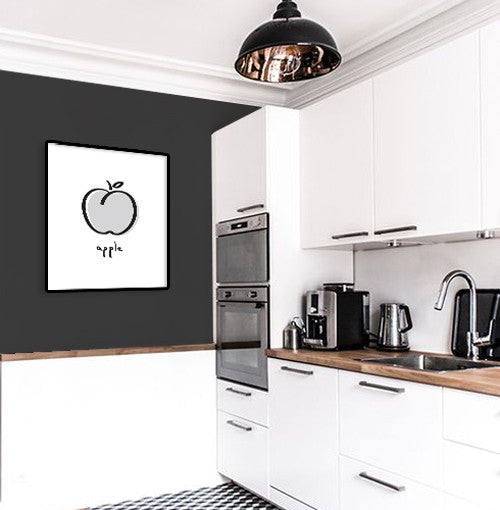 Minimal black and white apple print. Kitchen print - Latte Design  - 2