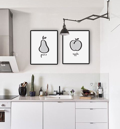 Minimal black and white apple print. Kitchen print - Latte Design  - 3