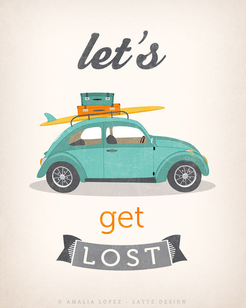 Let's get lost print. Beetle print. LD10014 - Latte Design  - 4