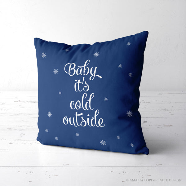 Baby it's cold outside. Blue Christmas cushion